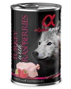 Alpha Spirit Wet Dog Pavo con frambuesa 400g (6uds)